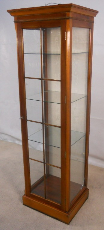 Antique Style Yew Tall Narrow Display Cabinet Sold